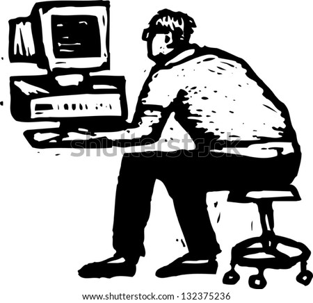 Black and white vector illustration of a hacker