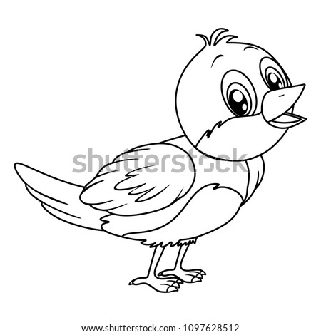 Black And White Vector Illustration Of A Happy Nightingale Cute Cartoon Bird Isolated On