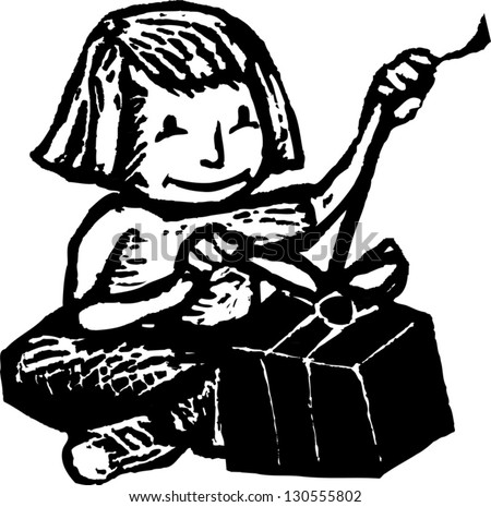 Black and white vector illustration of a little girl opening a gift