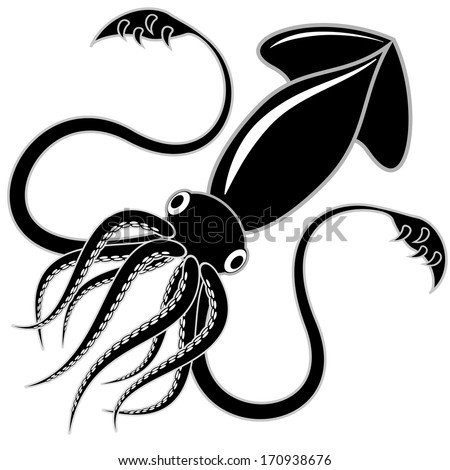Black and white vector illustration of a squid - stock vector