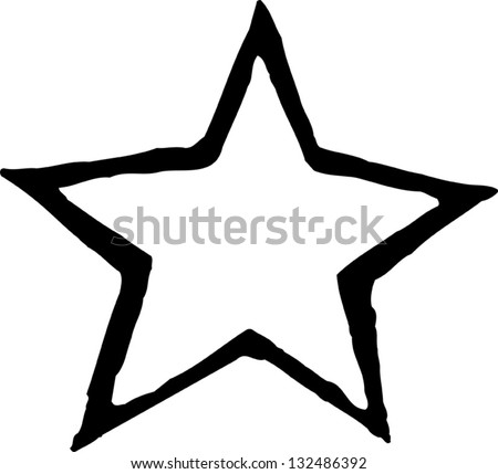 Black and white vector illustration of a star - stock vector