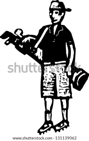 Black and white vector illustration of a teen boy carrying golf clubs