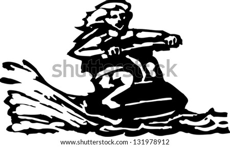 Black and white vector illustration of a water vehicle