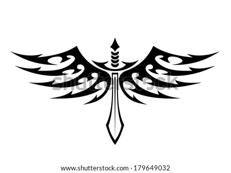 Sword With Wings Logo a Winged Sword Tattoo Logo