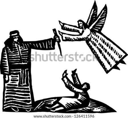Black and white vector illustration of Abraham and an angel - stock vector