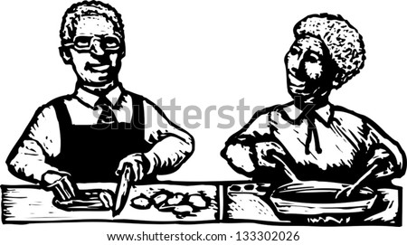 Black and white vector illustration of African American couple cooking in the kitchen