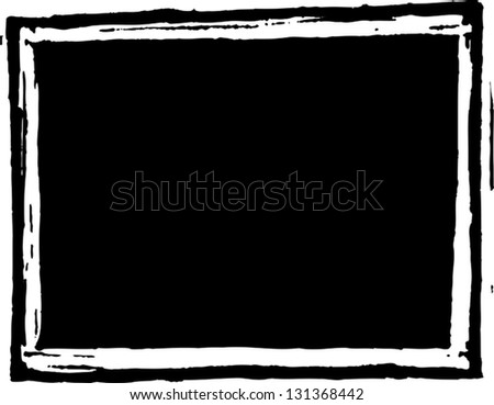 Black and white vector illustration of an empty chalkboard