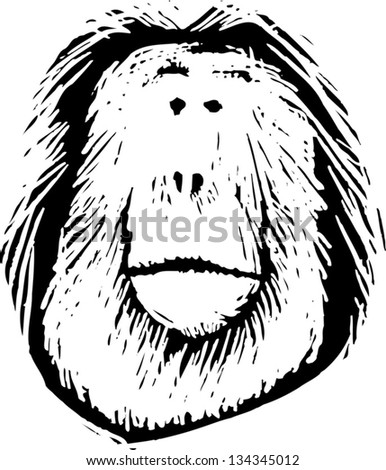 stock-vector-black-and-white-vector-illustration-of-an-orangutan ...