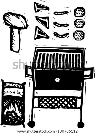 Black and white vector illustration of barbecue - stock vector