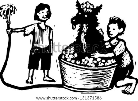Black and white vector illustration of boy and girl washing dog