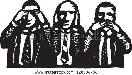 Black and white vector illustration of corporate culture - stock vector