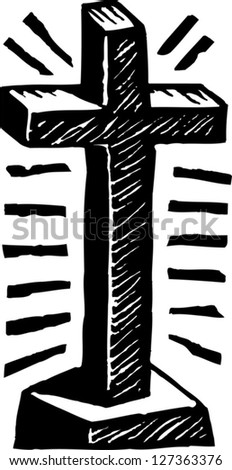 Black and white vector illustration of Cross - stock vector