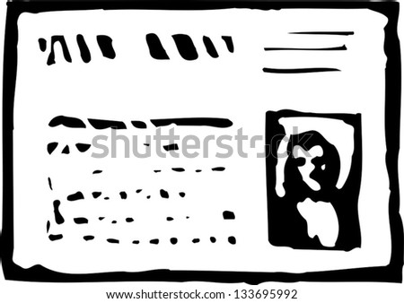 Black and white vector illustration of driver's license - stock vector