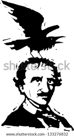 Black and white vector illustration of Edgar Allan Poe with raven - stock vector