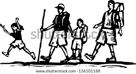 Black And White Vector Illustration Of Family Hiking