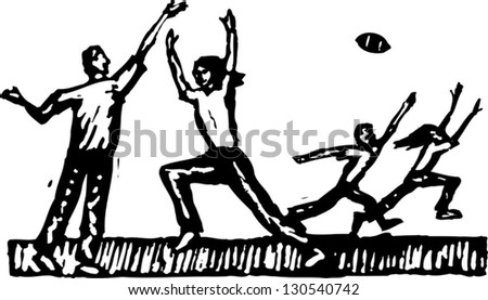 Black and white vector illustration of family playing with a ball