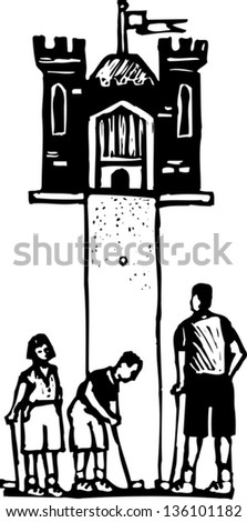 Black and white vector illustration of father and children playing