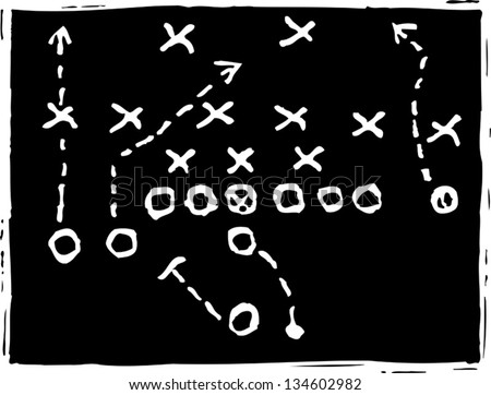 Black and white vector illustration of Football Game - stock vector