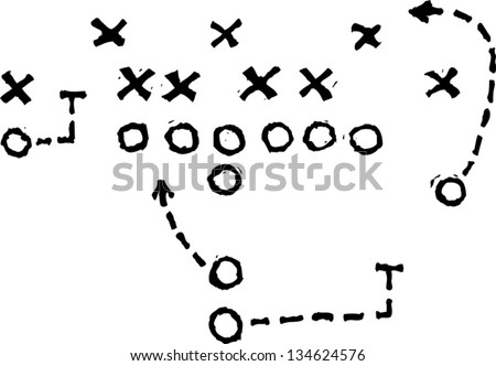 Black and white vector illustration of Football Play - stock vector