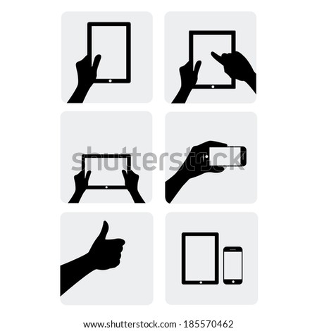 black and white vector illustration of gadgets with hands on white background