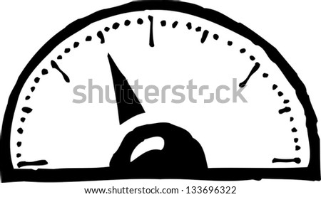 Black and white vector illustration of gauge