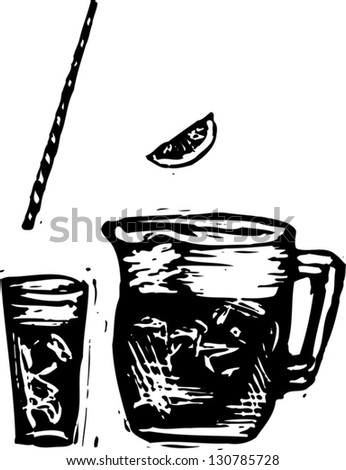 Black And White Vector Illustration Of Iced Tea