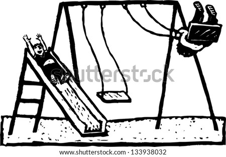 Black and white vector illustration of kids playing on swing and slide at park - stock vector