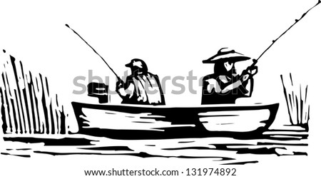 Black and white vector illustration of man and woman fishing from the boat