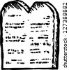 Black and white vector illustration of Moses' tablet of ten commandments - stock photo