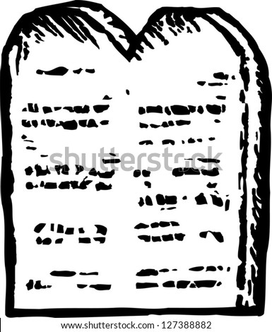 Black and white vector illustration of Moses' tablet of ten commandments - stock vector