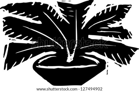 Black and white vector illustration of plant