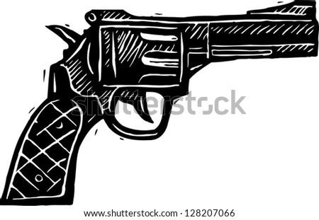 Black and white vector illustration of revolver gun - stock vector