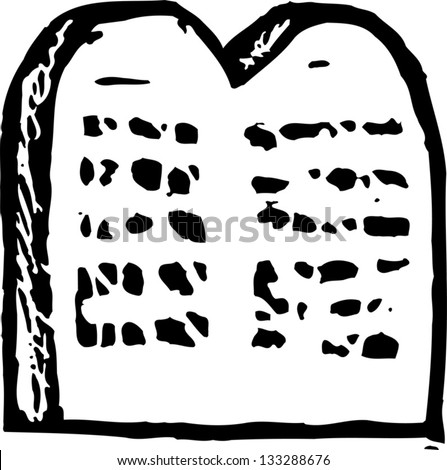 Black and white vector illustration of the Ten Commandments tablet - stock vector