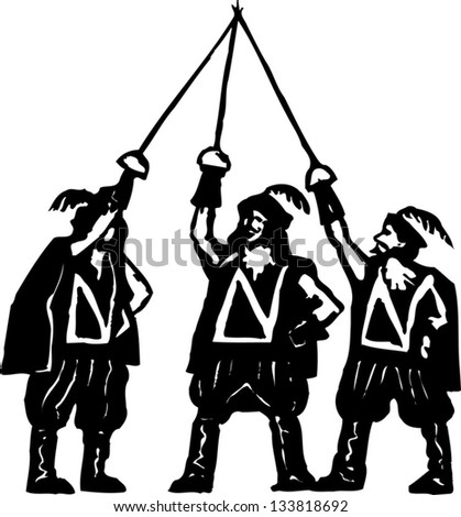 Black and white vector illustration of the three musketeers - stock vector