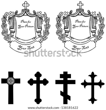 Black and white vector illustration of tombstone with four different vintage stone cross with heraldic elements. Easy to edit. - stock vector
