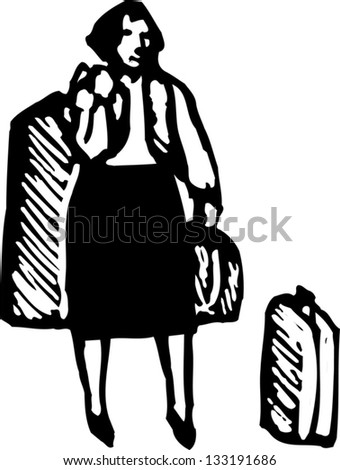 Black and white vector illustration of traveling woman with suitcases