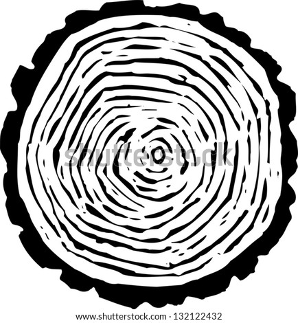 Black and white vector illustration of tree rings - stock vector