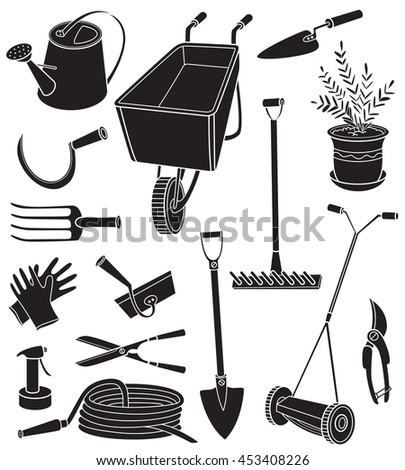 Black and white vector illustration with agriculture objects. Silhouettes of gardening tools, hose, watering can, forks, mower, pruning shears, scissors, potted plant, rake, gloves, hammer isolated  - stock vector