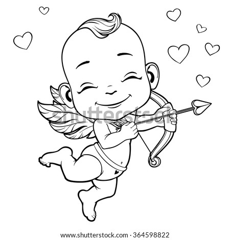 Black and white vector illustration with Baby Cupid shooting a bow - stock vector