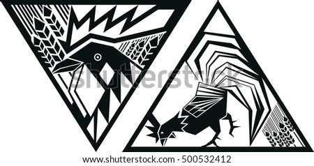 Black and white vector image of rooster in triangle