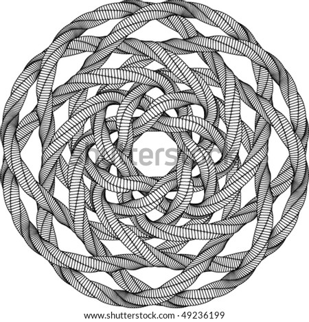 Black and White Vector Knot Illustration - stock vector