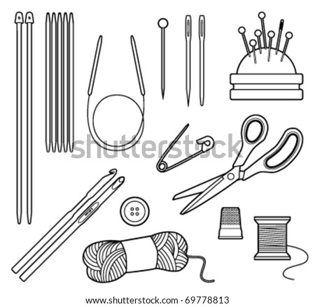 Black and white vector line drawing of crafting tools - stock vector