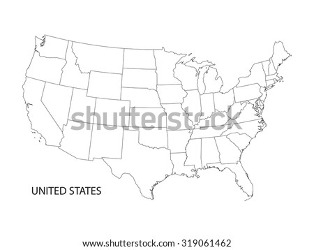 black and white vector map of United States of America - stock vector