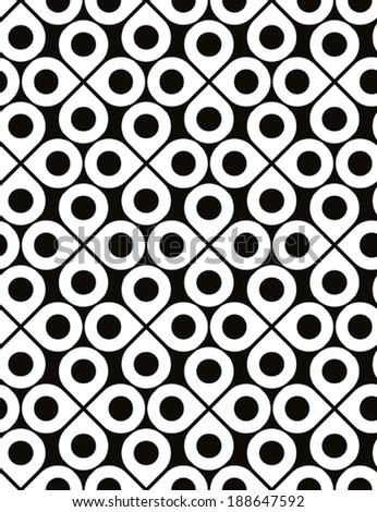 Black and white vector ornamental seamless pattern with drops and polka dots, monochrome infinite background with quatrefoils, endless abstract covering.  - stock vector