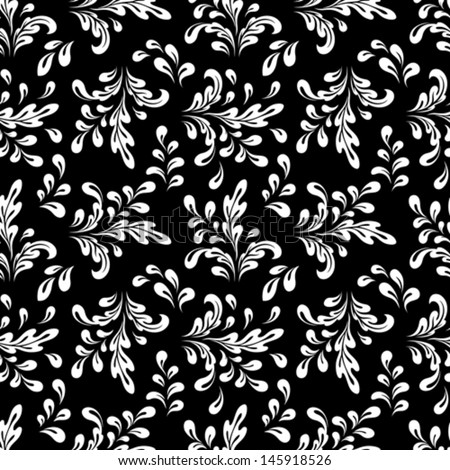 Black and white vector seamless pattern, abstract floral ornament - stock vector