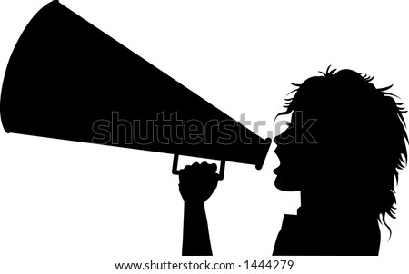 black and white vector silhouette graphic depicting a cheerleader with a megaphone (concept: advertise) - stock vector