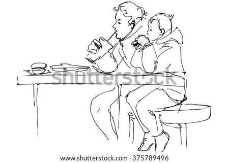 black and white vector sketch father and son at the table in a cafe - stock vector