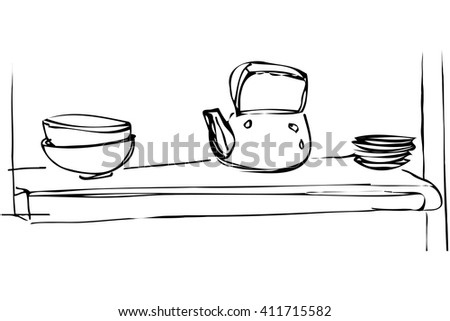 black and white vector sketch iron kettle and dishes are on the shelf