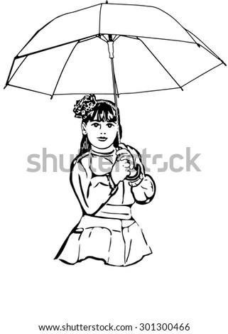 black and white vector sketch of a beautiful little girl under the big umbrella - stock vector