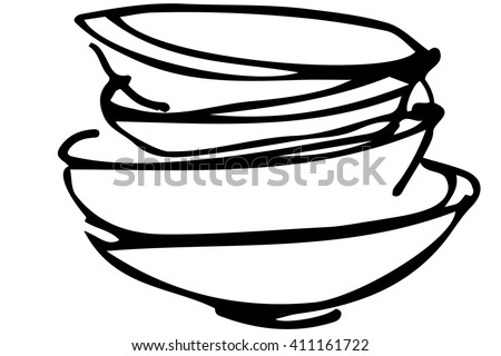 black and white vector sketch of a pile of dirty dishes